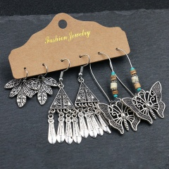 3 Pairs/Set Vintage Silver Rose Gold Alloy Dangle Earring Set Wholesale Silver-Butterfly
