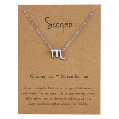 Silve Alloy Sinple 12 Constellations Pendant Chain Charm Necklace Scorpio