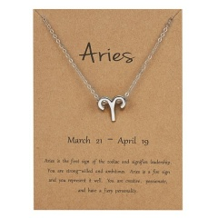 Silve Alloy Sinple 12 Constellations Pendant Chain Charm Necklace Aries