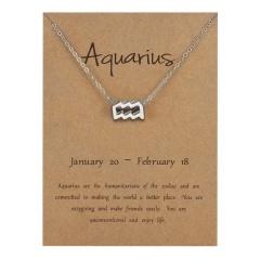Silve Alloy Sinple 12 Constellations Pendant Chain Charm Necklace Aquarius