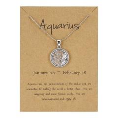 12Constellation Pendant Necklace Day Zodiac Sign Star Silver Choker Aquarius