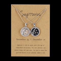 12Constellation Pendant Necklace Night Zodiac Sign Star Silver Choker Sagittarius