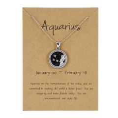 12Constellation Pendant Necklace Night Zodiac Sign Star Silver Choker Aquarius