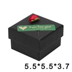 Black Kraft Paper Jewelry Gift Box With Rose Decoration 5.5*5.5*3.7cm