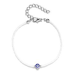 Wholesale Blue Evil Eye Beads Bracelets White beads