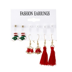 6Pairs/Set Bell Garland Pearl Tassel Christmas Combination Card Earrings Ear Hook Earrings Set #1