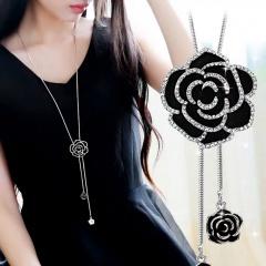 Sweet Long Rose Flower Long Adjustable Chain Necklace Rose