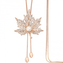Alloy With Diamond Maple Leaf Sweater Chain Long Neckalce Gold