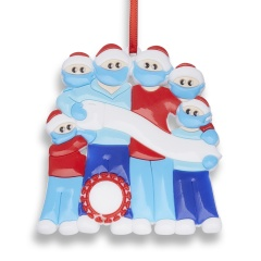 Christmas Hanging Ornaments Blue Red Personalized DIY Name Family Love Gift 6 People