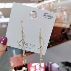 Korean Fashion Gold Long Tassel Dangle Earring Wholesale Tassel