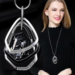 Wholesale Geometric Diamond Crystal Irregular Long Sweater Chain Necklace Crystal