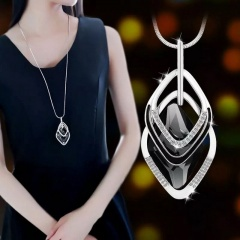Geometric Prismatic Diamond Long Sweater Chain Necklace Crystal