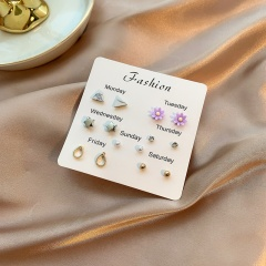 7 Pairs/Set Colorful Small Week Stud Earring Set E
