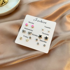 7 Pairs/Set Colorful Small Week Stud Earring Set F