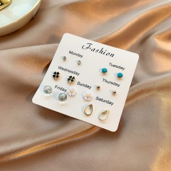 7 Pairs/Set Simple Flower Small Stud Earring Set Wholesale A