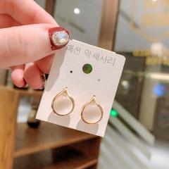 Wholesale Fashion Gemstone Cat Eye Stud Earrings Circular