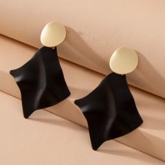 Wholesale Simple Plated Gold Black Stud Earrings Style 4
