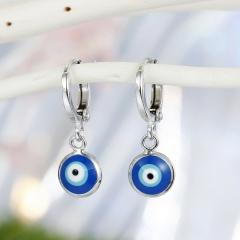 Lucky Blue Eyes Silver Hoop Dangle Earrings Eyes