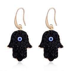 Natural Stone Plam Eyes Gold Plated Ear Earrings Black