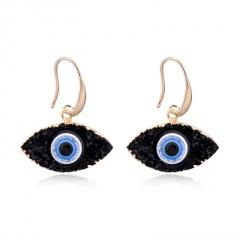 Natural Stone Blue Eyes Gold Ear Earrings Wholesale Black
