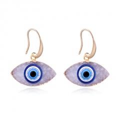 Natural Stone Blue Eyes Gold Ear Earrings Wholesale White