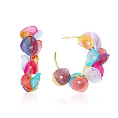 Multi-layer Lace Fabric Flower Long Dangle Earrings J