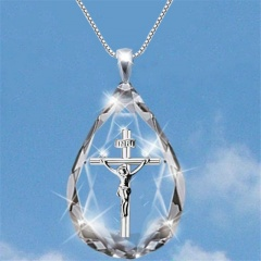 Fashion Dolphin Crystal Pendant Silver Chain Necklace Cross-Silver