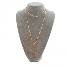 Multilayer Crystal Beads Cross Pendant Long Necklace Gold