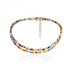 Multilayer Rice Beads LOVE Letter Short Necklaces Multicolor