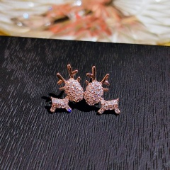 Fashion Silver Stone Elk Shape Stud Earrings Wholesale Elk