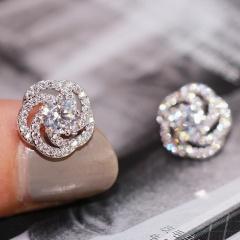 Silver Fashion Copper CZ Stone Heart Stud Earring Wholesale Rose Flower