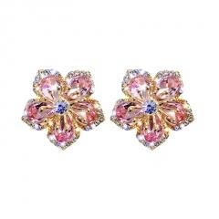 Silver Fashion Copper CZ Stone Heart Stud Earring Wholesale Flower