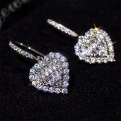 Silver Fashion Copper CZ Stone Heart Stud Earring Wholesale Heart Dangle