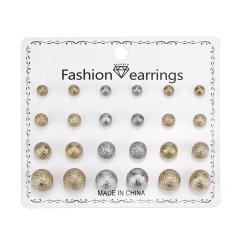 12 pairs/card Love Rhinestone Combination Card Earring Set Gold
