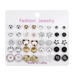 20 pairs/Set  Rhinestone Pearl Combination Card Earring Set B