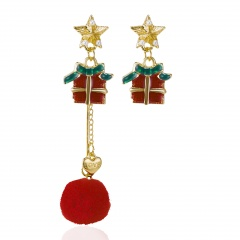 Christmas Asymmetrical Pearl Five-pointed Star Hair Ball Long Stud Earrings Gift