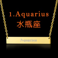 Customized Stainless Steel Vintage English Alphabet 12 Constellation Necklace Aquarius