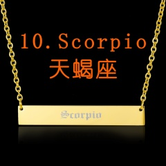Customized Stainless Steel Vintage English Alphabet 12 Constellation Necklace Scorpio