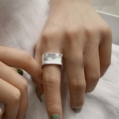 Silver Vintage Open Adjustable Women's Fashion Rings Wholesale A