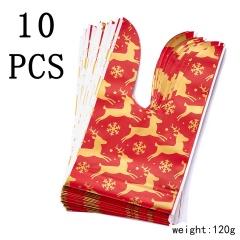 10 pcs Christmas Pattern Apple Cookies Candy Plastic Bag Elk