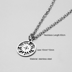Silver Long Stainless Steel Pendant Necklace for Men Compass