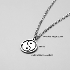 Silver Long Stainless Steel Pendant Necklace for Men Taiji
