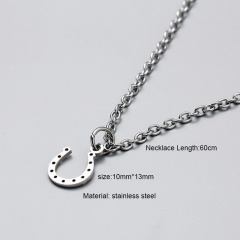 Silver Long Stainless Steel Pendant Necklace for Men U