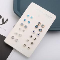 12 Pairs/Set Star Moon Small Blue Sweet Stud Earring Set Star