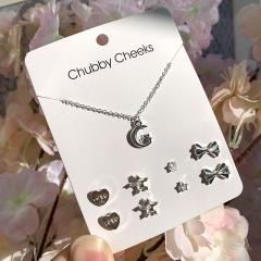 Necklace, Earrings, 5-Piece Paper Card Set Moon