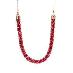 Crystal Crochet Hand Knitted Retro Exaggerated Sweater Chain Necklace Red
