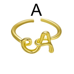 Fashion Gold Plated 26 English Alphabet Rings A