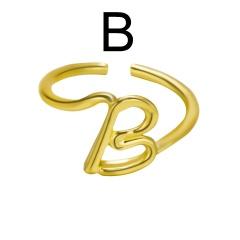 Fashion Gold Plated 26 English Alphabet Rings B