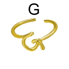 Fashion Gold Plated 26 English Alphabet Rings G
