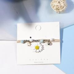 Ceramic Beaded Star Pendant Multilayer Daisy Flower Bracelet White